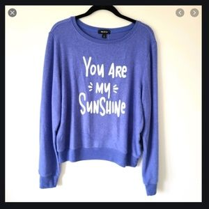 WILDFOX BLUE YOU ARE MY SUNSHINE PULLOVER TOP